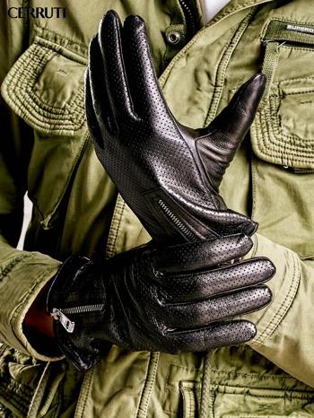 CERRUTI Czarne rękawiczki męskie z suwakami                                  zdj.                                  2