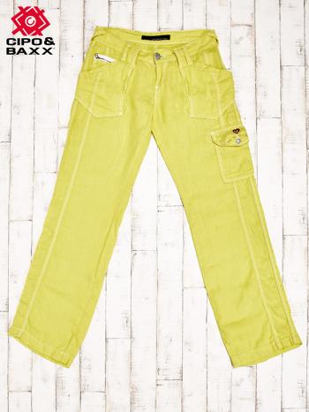 CIPO & BAXX Żółte spodnie z kieszeniami                                  zdj.                                  1