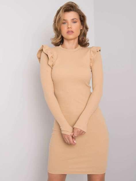 Camelowa sukienka dopasowana Nala