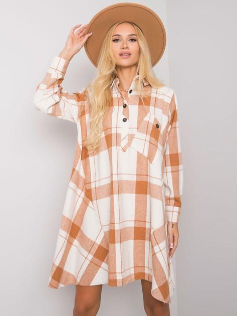 Camelowa sukienka w kratę Maelia