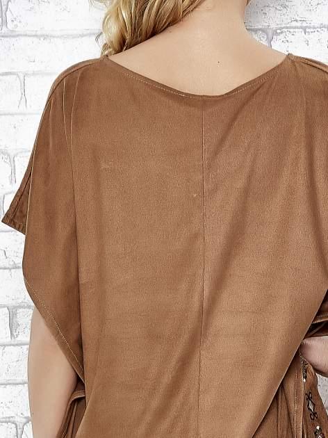 Camelowa zamszowa bluzka z haftem w stylu boho                                  zdj.                                  6