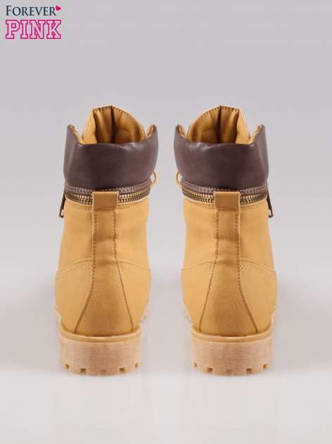 Camelowe buty trekkingowe damskie typu traperki z zamkiem                                  zdj.                                  3