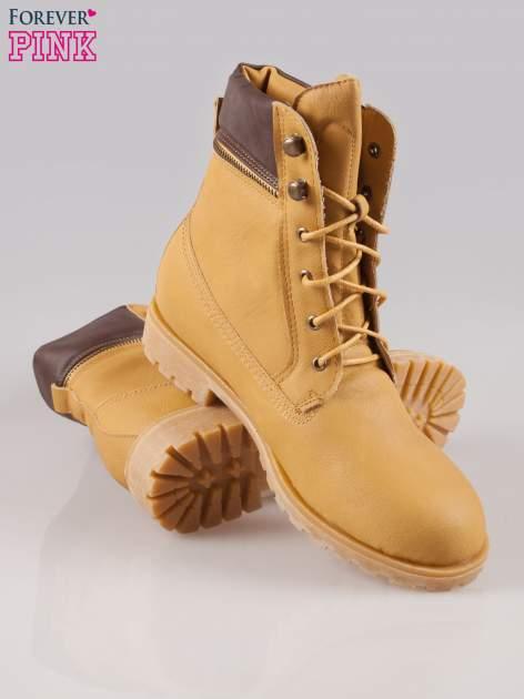 Camelowe buty trekkingowe damskie typu traperki z zamkiem                                  zdj.                                  4