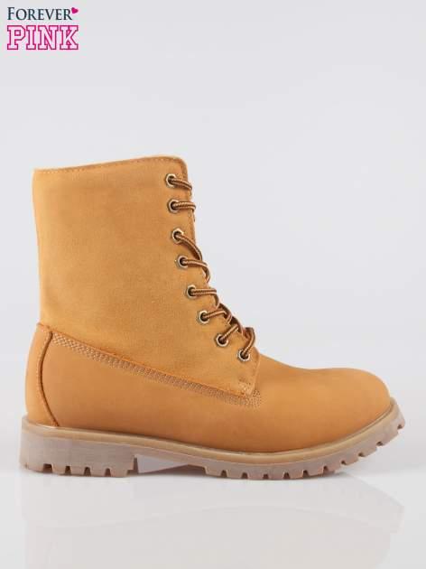 Camelowe wysokie buty trekkingowe traperki damskie ze skóry naturalnej                                  zdj.                                  1