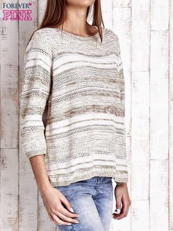 Camelowy dziergany sweter z rękawem 3/4                                  zdj.                                  3