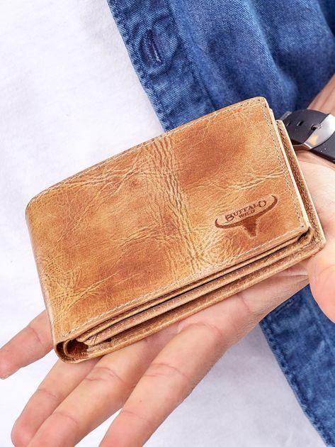 Camelowy portfel męski ze skóry naturalnej                              zdj.                              2