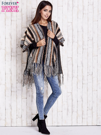 Camelowy sweter poncho z frędzlami                                   zdj.                                  2