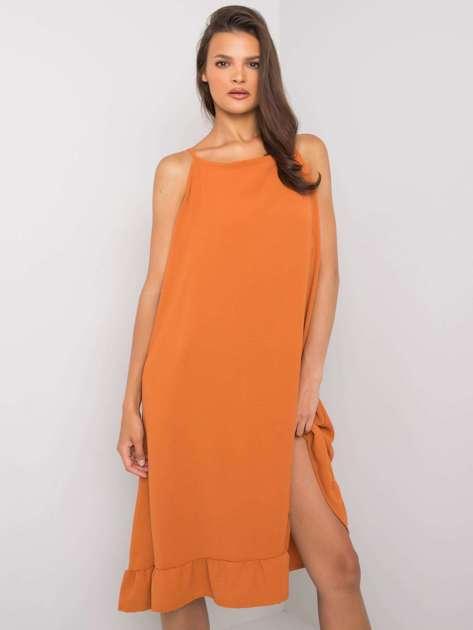 Ceglasta sukienka na ramiączkach Simone