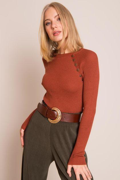 Ceglasty sweter damski BSL
