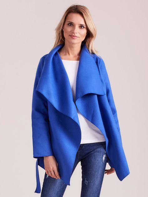 Chabrowy płaszcz z wiązaniem i kieszeniami                              zdj.                              5