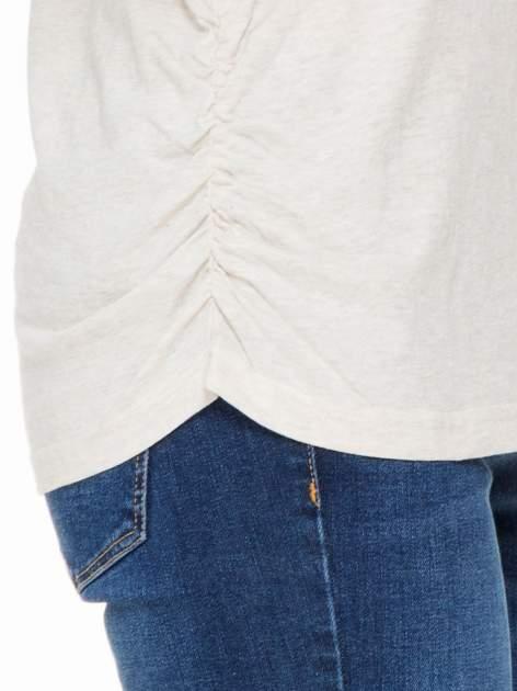 Ciemnobeżowa luźna bluzka z rękawem 3/4                                  zdj.                                  5