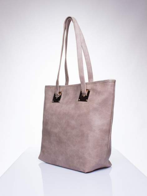 Ciemnobeżowa prosta torba shopper bag ze złotymi okuciami                                  zdj.                                  2