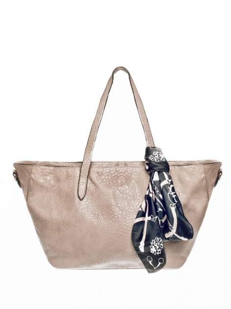 Ciemnobeżowa torebka shopper bag z apaszką