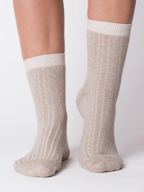 Ciemnobeżowe bawełniane skarpety prążkowane