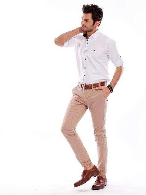 Ciemnobeżowe bawełniane spodnie męskie chinosy                                   zdj.                                  4