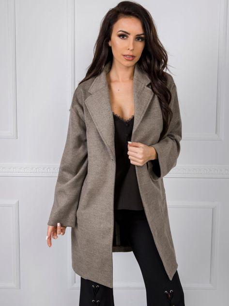 Ciemnobeżowy płaszcz damski BSL
