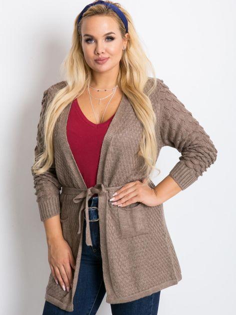 Ciemnobeżowy sweter plus size Boogie