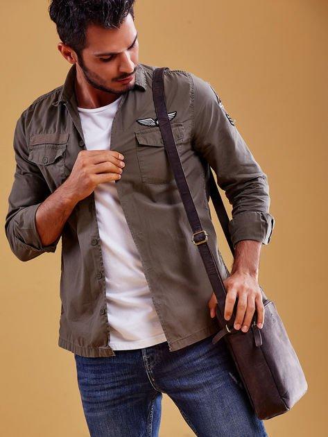 Ciemnobrązowa torba męska skórzana na ramię                              zdj.                              2