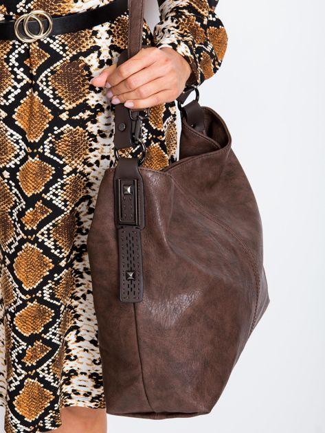 Ciemnobrązowa torba z odpinanym paskiem                              zdj.                              3
