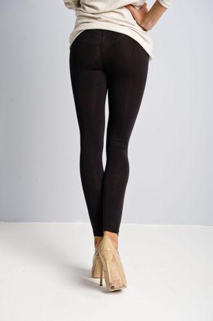 Ciemnobrązowe legginsy bawełniane z gumką w pasie                                  zdj.                                  2