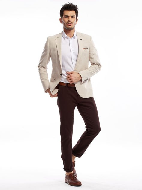 Ciemnobrązowe spodnie męskie chinos                              zdj.                              5