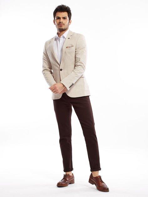 Ciemnobrązowe spodnie męskie chinos                              zdj.                              8