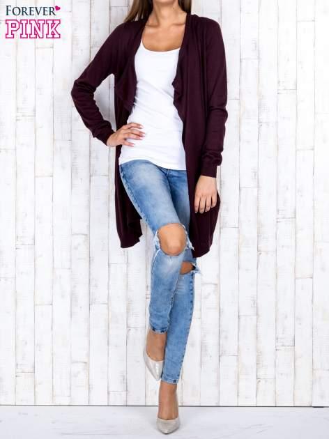 Ciemnobrązowy długi niezapinany sweter z kieszeniami                                  zdj.                                  2