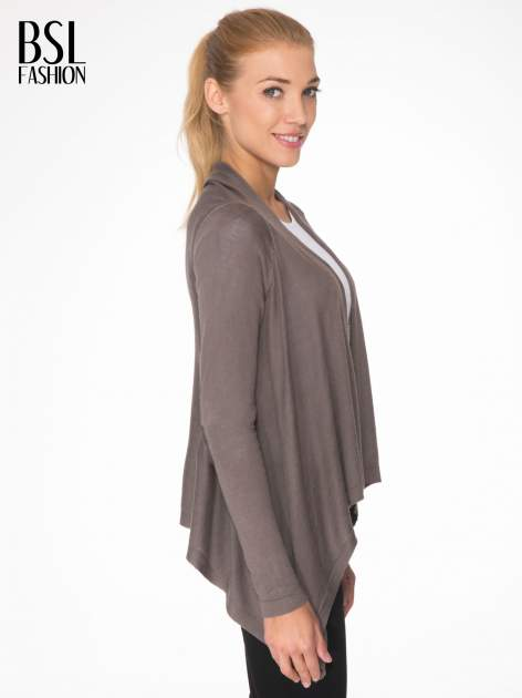 Ciemnobrązowy otwarty sweter z kaskadowymi bokami                                  zdj.                                  3