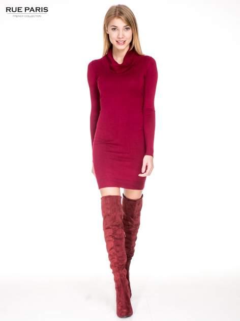 Ciemnoczerwona swetrowa sukienka z golfem                                  zdj.                                  2