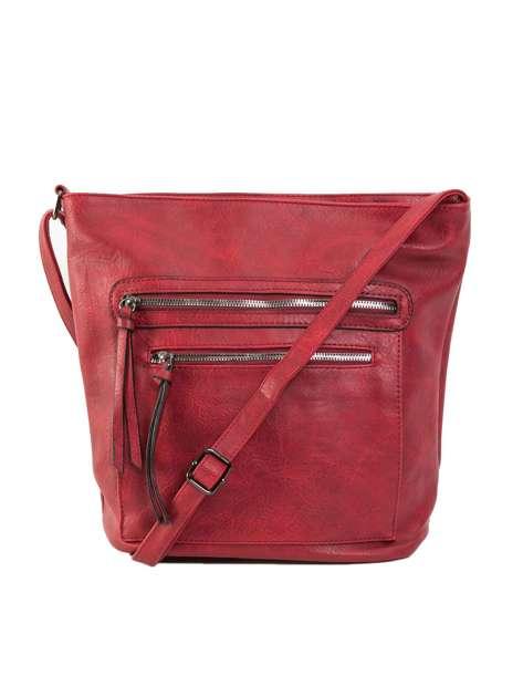Ciemnoczerwona torba damska ze skóry ekologicznej
