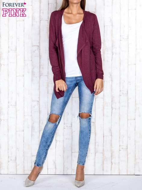 Ciemnoczerwony niezapinany sweter z melanżowym efektem                                  zdj.                                  2