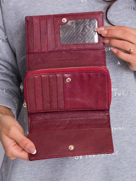 Ciemnoczerwony podłużny portfel z motywem zwierzęcym                              zdj.                              6