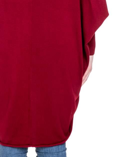 Ciemnoczerwony sweter narzutka z nietoperzowymi rękawami                                  zdj.                                  8
