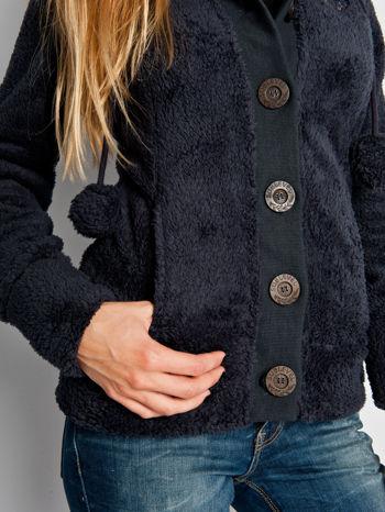 Ciemnofioletowa pluszowa bluza miś zapinana na guziki                                  zdj.                                  3