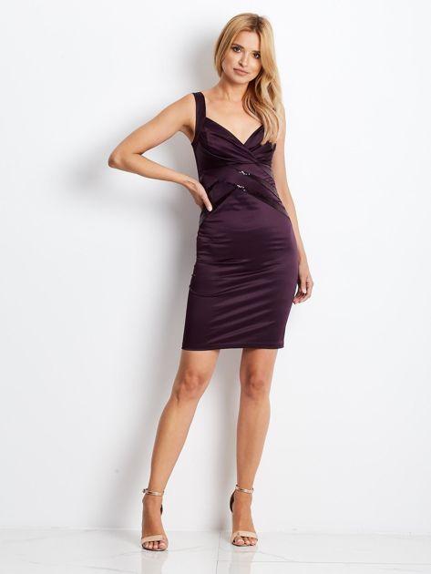Ciemnofioletowa sukienka z cekinowymi wstawkami                              zdj.                              5
