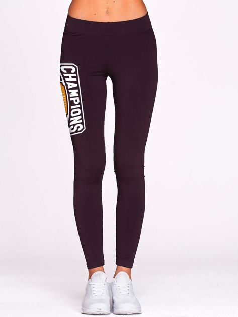 Ciemnofioletowe legginsy na siłownię z nadrukiem CHAMPIONS                                  zdj.                                  2