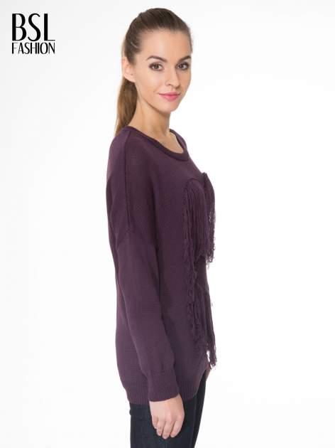 Ciemnofioletowy sweter z sercem obszytym frędzlami                                  zdj.                                  3