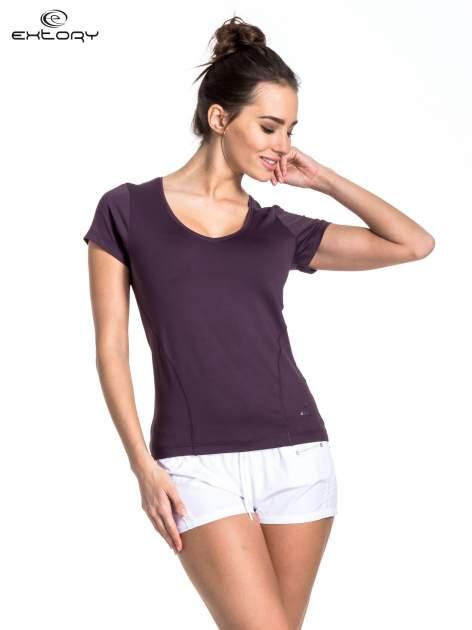 Ciemnofioletowy t-shirt sportowy basic