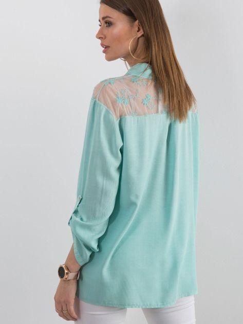 Ciemnomiętowa koszula z długim rękawem                               zdj.                              2
