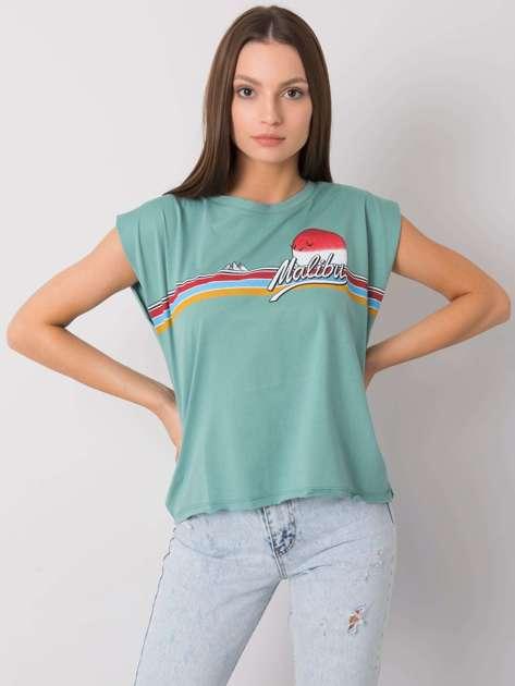 Ciemnomiętowy t-shirt z nadrukiem Malibu