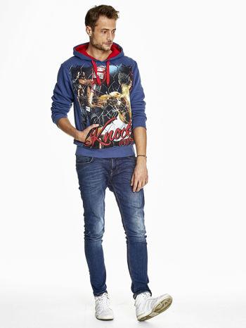 Ciemnoniebieska bluza męska z bokserskim nadrukiem                                  zdj.                                  4
