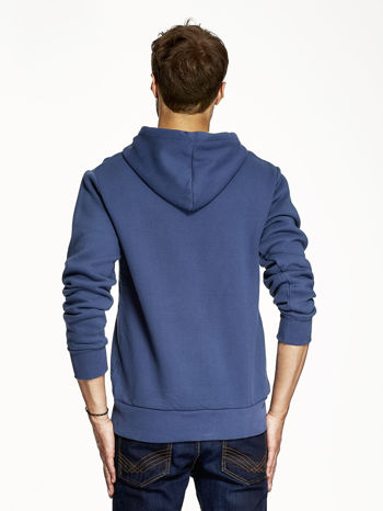 Ciemnoniebieska bluza męska z industrialnym nadrukiem                              zdj.                              2