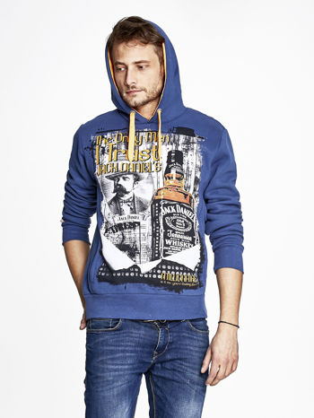 Ciemnoniebieska bluza męska z kapturem z motywem whiskey                                  zdj.                                  5