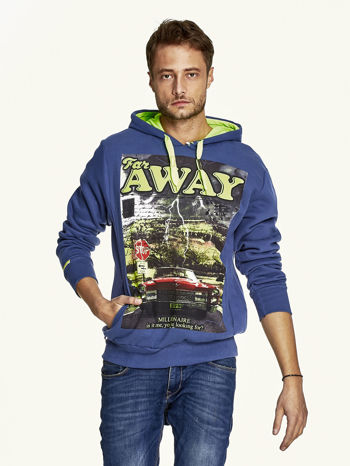 Ciemnoniebieska bluza męska z kapturem z napisem FAR AWAY                                  zdj.                                  1