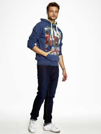 Ciemnoniebieska bluza męska z motywem Londynu                                  zdj.                                  4