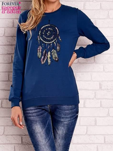 Ciemnoniebieska bluza z nadrukiem łapacza snów