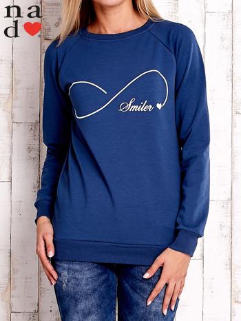 Ciemnoniebieska bluza z napisem SMILER