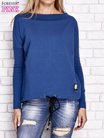 Ciemnoniebieska bluza z szerokim ściągaczem i troczkami                                  zdj.                                  1