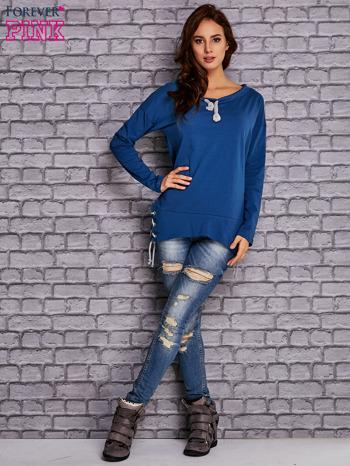 Ciemnoniebieska bluza z wiązaniami                                   zdj.                                  4