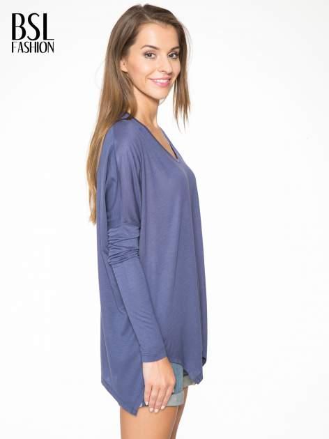 Ciemnoniebieska bluzka z asymetrycznym cięciem na dole                                  zdj.                                  3